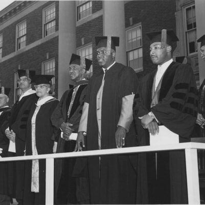 Robinson and King were receiving the honorary degree of Doctor of Laws. Robinson had just retired from professional baseball earlier in the year. The photograph was probably taken by either Robert or George Scurlock (Scurlock Studio Records, ca. 1905-1994, Archives Center, National Museum of American History)