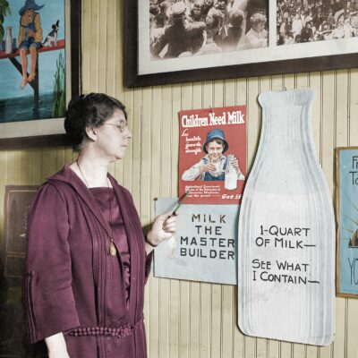 Colorized Photo of the Milk Woman, Miss Jessie Hoover