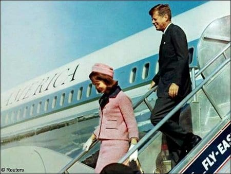 Air Force One arrives in Dallas with President and Mrs. Kennedy an hour before the assassination, November 22nd, 1963