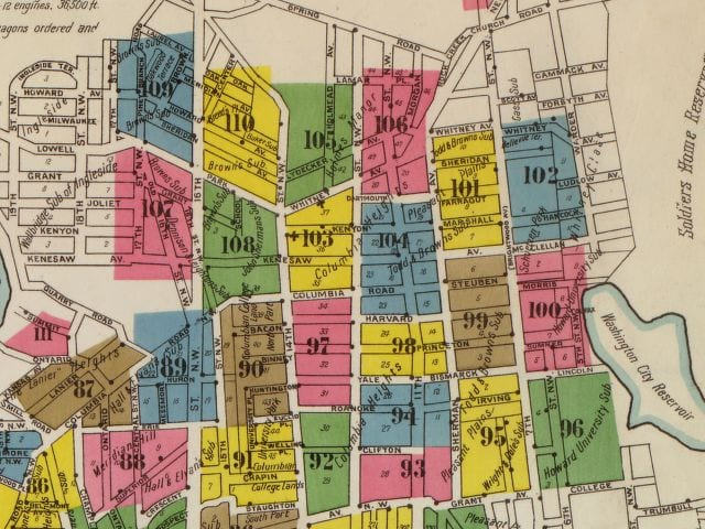 Sanborn Firemap of Columbia Heights in 1903 (LIbrary of Congress)
