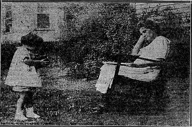 The orphaned Miriam Macias with her grandmother Mrs. Thayer August 21st, 1925 (Washington Post)