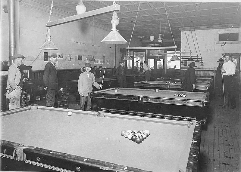 pool hall in the early 1900s (source unknown)