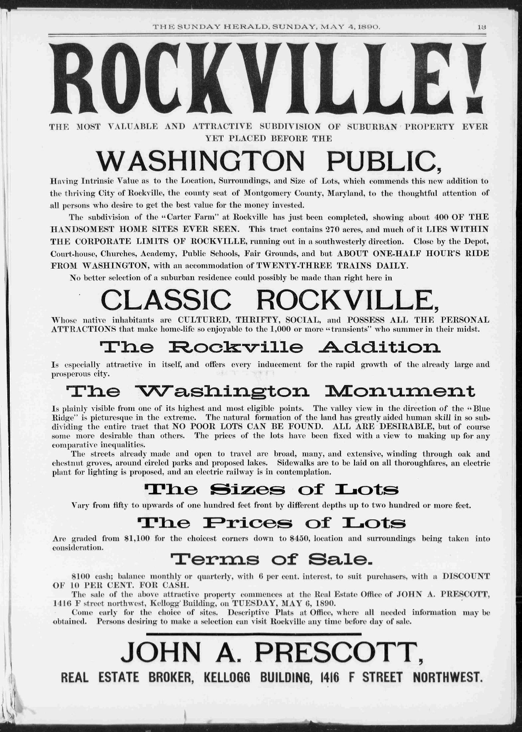 Rockville! advertisement in The Sunday Herald - May 4th, 1890