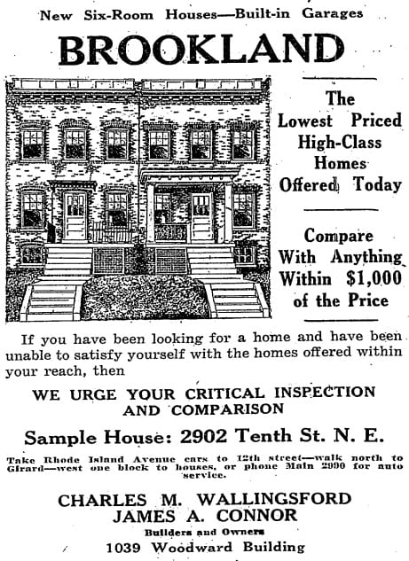 Brookland homes advertisement in the Washington Post - May 10th, 1925