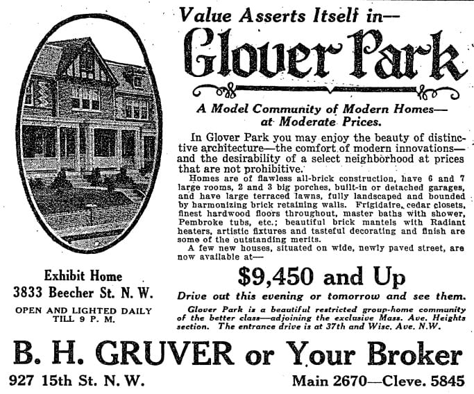 Glover Park homes advertisement in Washington Post - October 14th, 1928