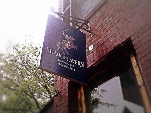 Shaw's Tavern sign in the rain