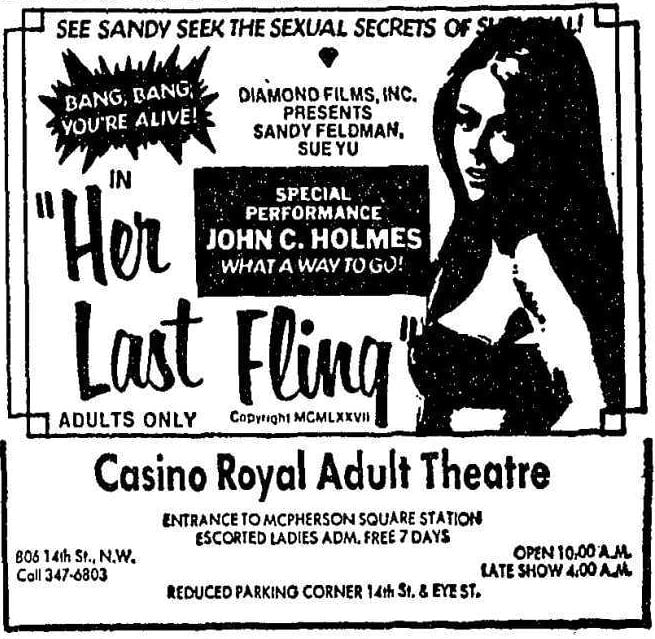 Casino Royal Adult Theatre advertisement in the Washington Post - December 15th, 1977