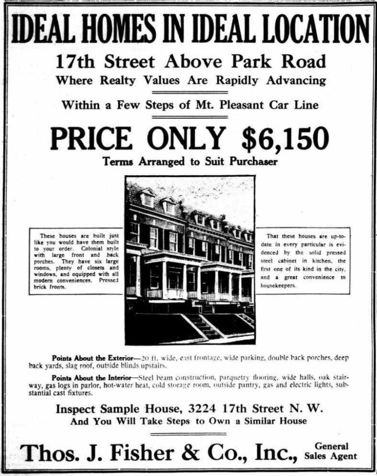 Mt. Pleasant homes advertisement in the Washington Times - April 19th, 1913