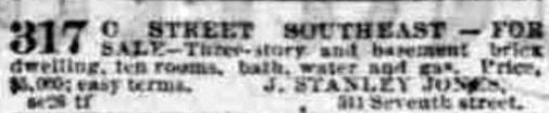 advertisement for 317 C St. SE - November 7th, 1876
