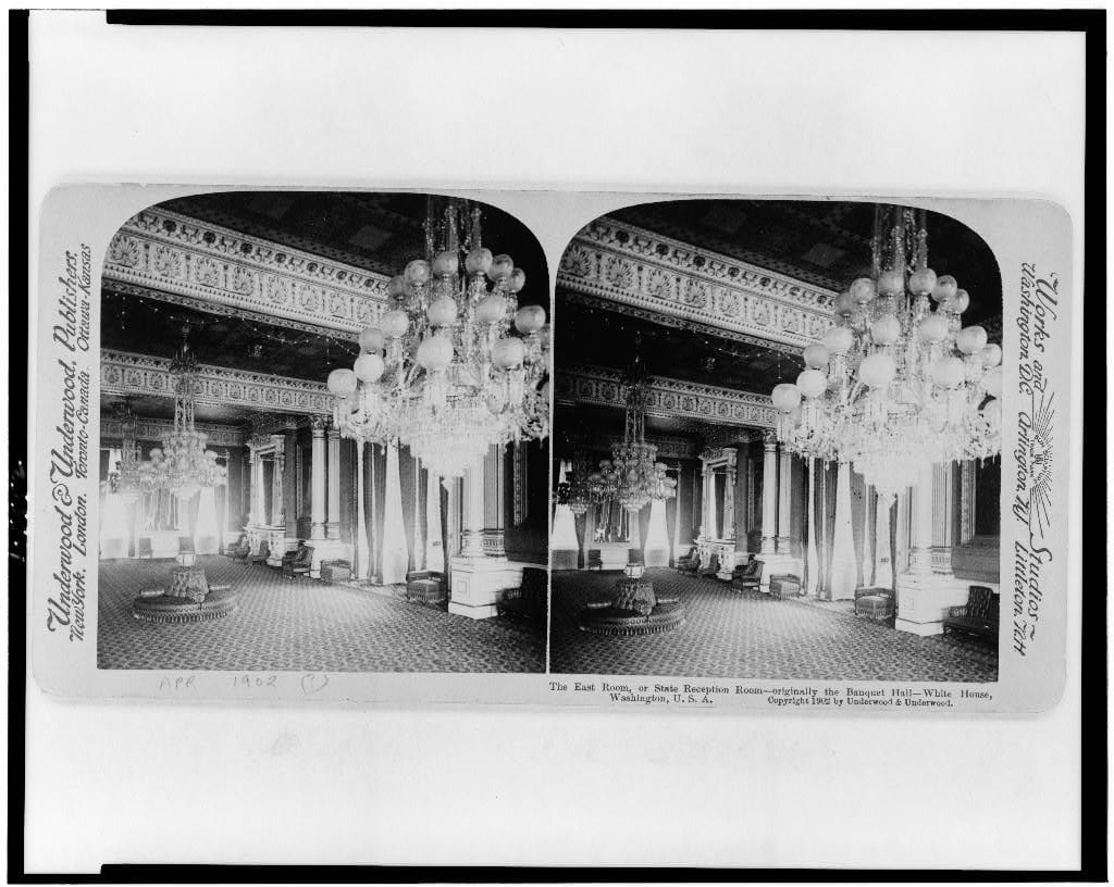 The East Room, or, State Reception Room--originally the banquet hall--White House - 1902 (Library of Congress)