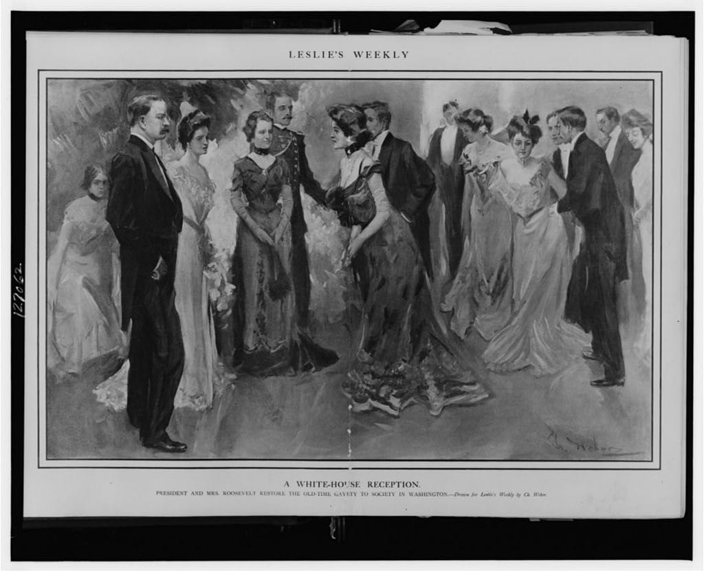 A White House reception--President and Mrs. Roosevelt restore the old-time gayety to society in Washington - 1902 (Library of Congress)
