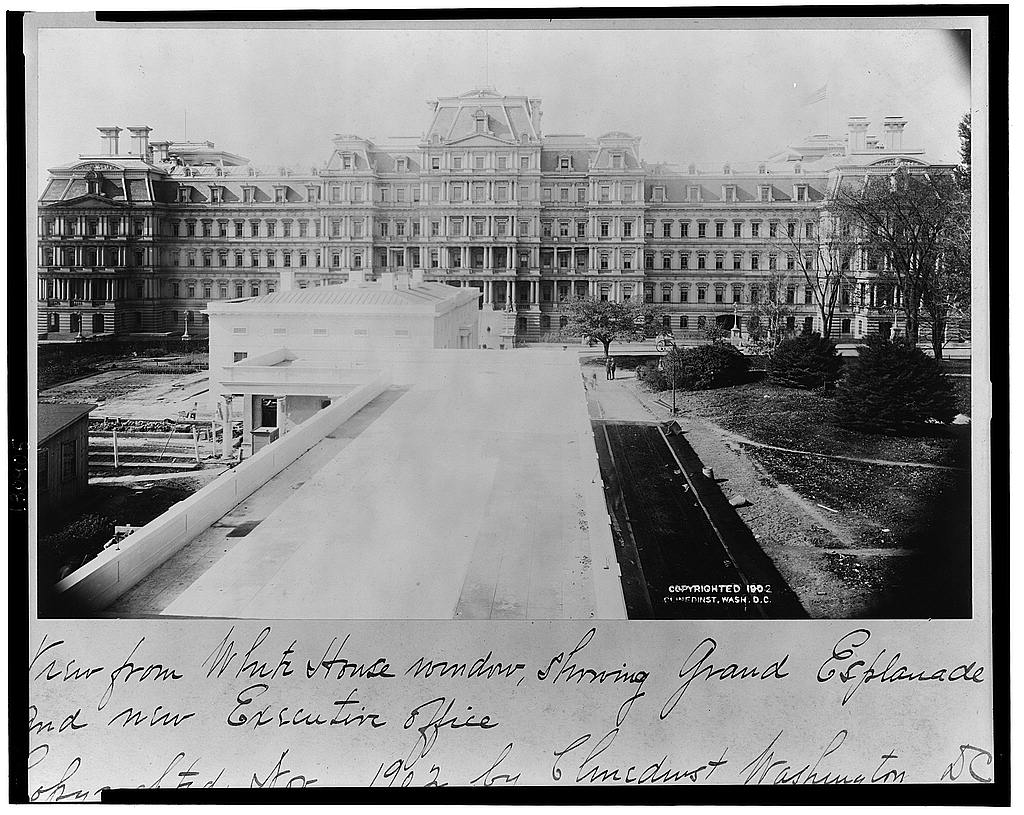 View of the West Wing under construction from the Executive Mansion. Executive Office Building in background - 1902 (Library of Congress)