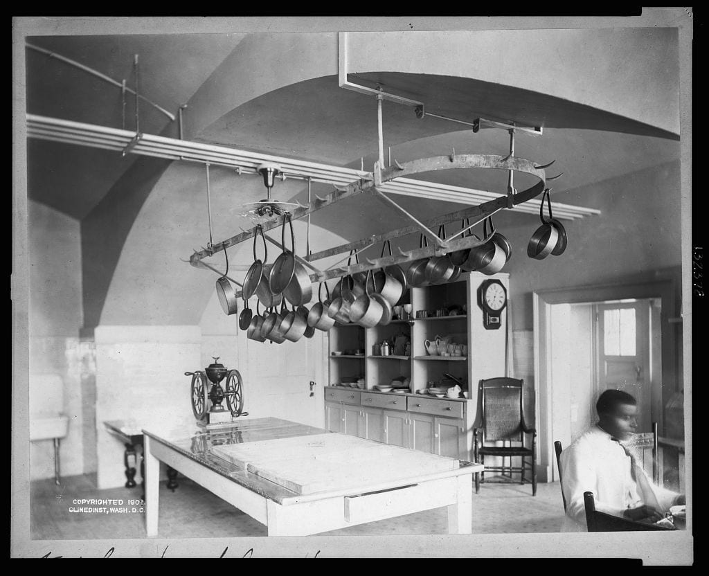 kitchen in the updated new White House - 1902 (Library of Congress)