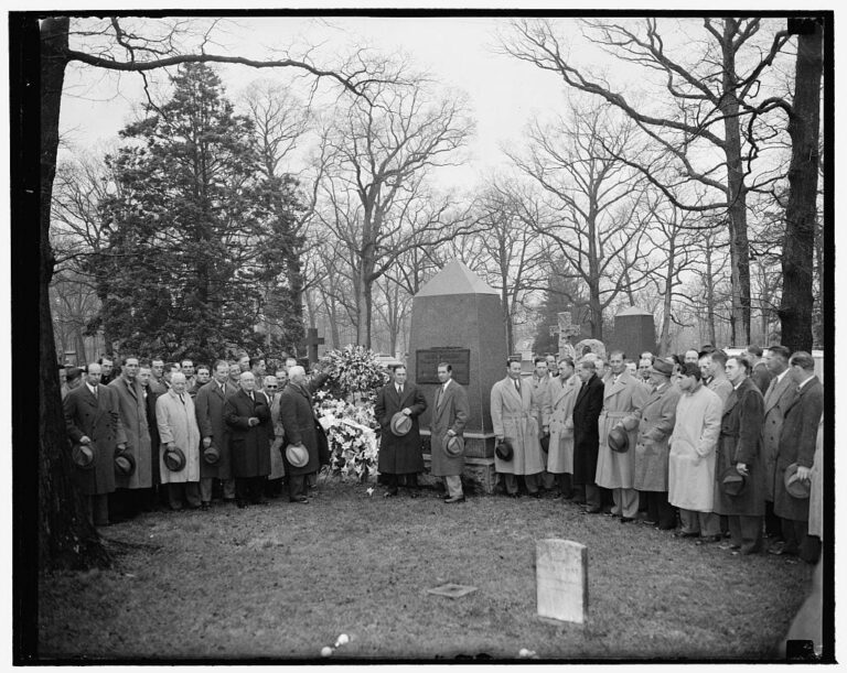 Tribute to Abner Doubleday at Arlington Cemetery. Left to right: Clark Griffith, President of the Washington Club, Joe McCarthy, Manager of the N.Y. Yankees and Manager Bucky Harris, Manager of the Washington Senators - April 17th, 1939 (Library of Congress)