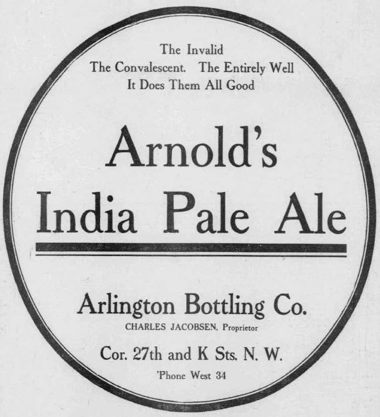 Arnold's India Pale Ale advertisement in the Washington Times - December 16th, 1906