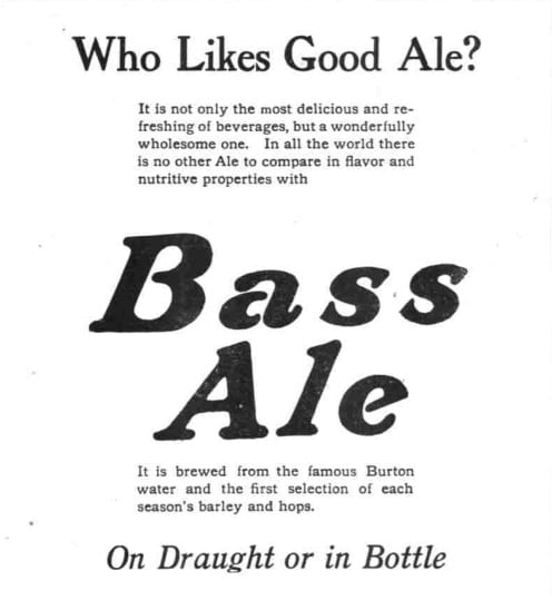 Bass Ale advertisement in the Washington Herald - December 24th, 1911