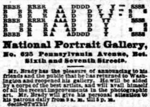 Mathew Brady at the National Portrait Gallery - November 7th, 1876