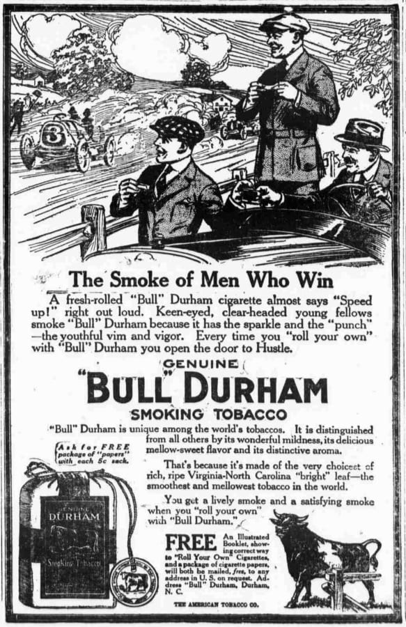 Bull Durham smoking tobacco advertisement in the Washington Times - March 6th, 1916