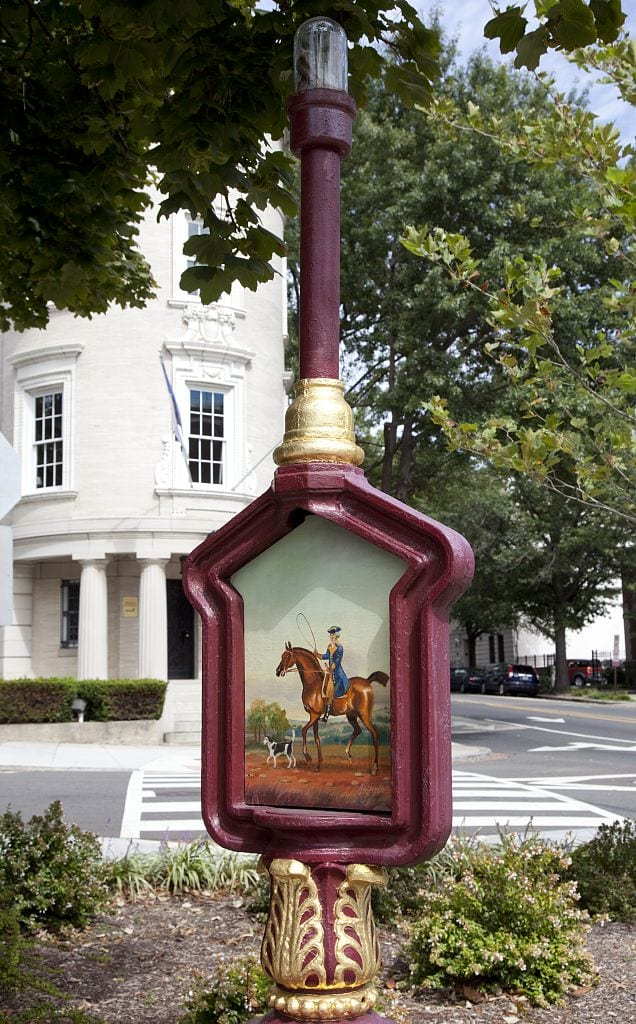 Historic police call box. Sheridan Kalorama Call Box Restoration Project. Located on Massachusetts Ave. near intersection with 22nd St., NW
