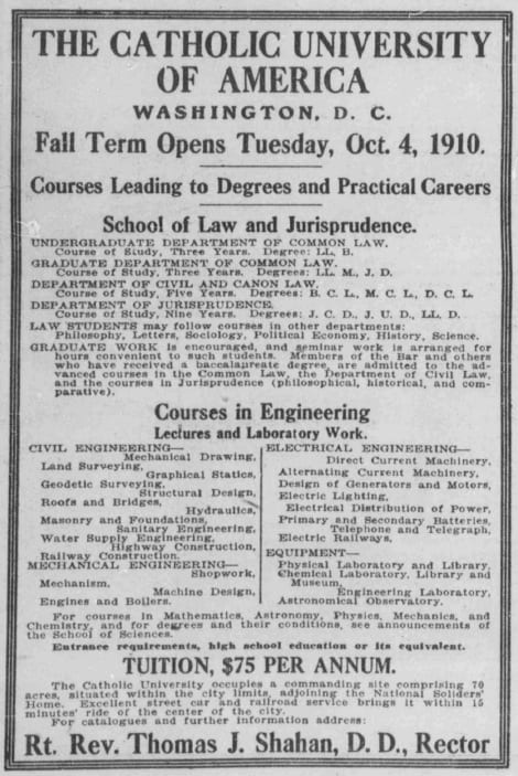Catholic University advertisement in the Washington Herald (1910)