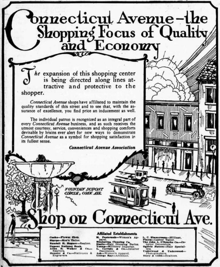Connecticut Avenue Association advertisement in the Washington Times - February 3rd, 1921