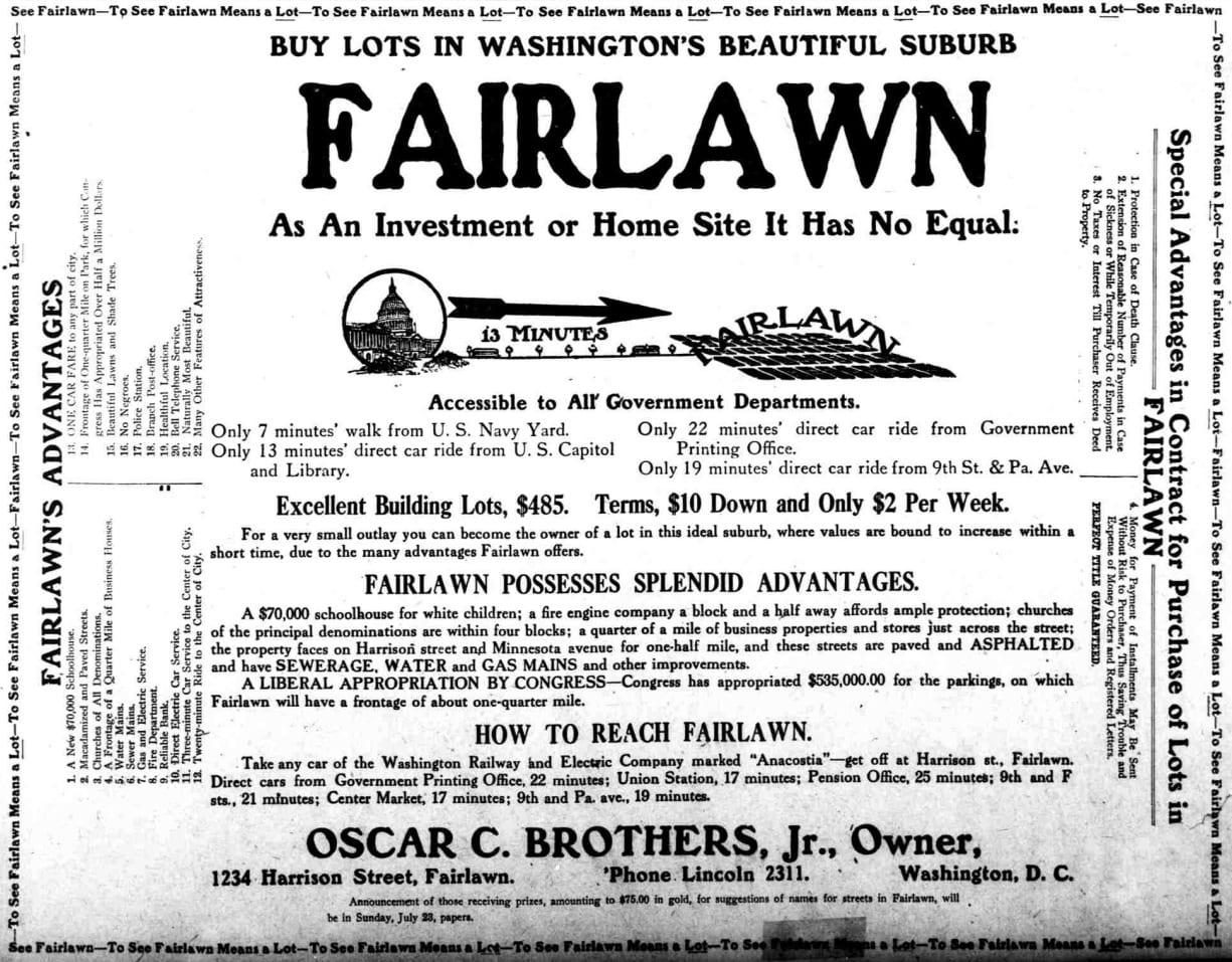 Fairlawn real estate advertisement from the Washington Herald - July 22nd, 1911