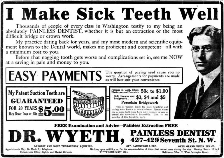 Dr. Wyeth advertisement in the Washington Times - April 28th, 1911