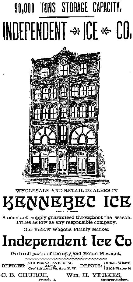 Independent Ice Co. advertisement in the Washington Post - April 29th, 1891