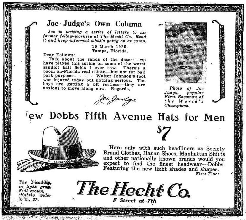 Joe Judge and The Hectht Company advertisement in the Washington Post - 1925