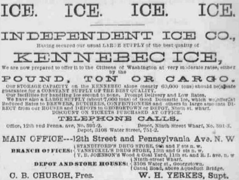 Independent Ice Co. advertisement in The Evening Critic - May 6th, 1885