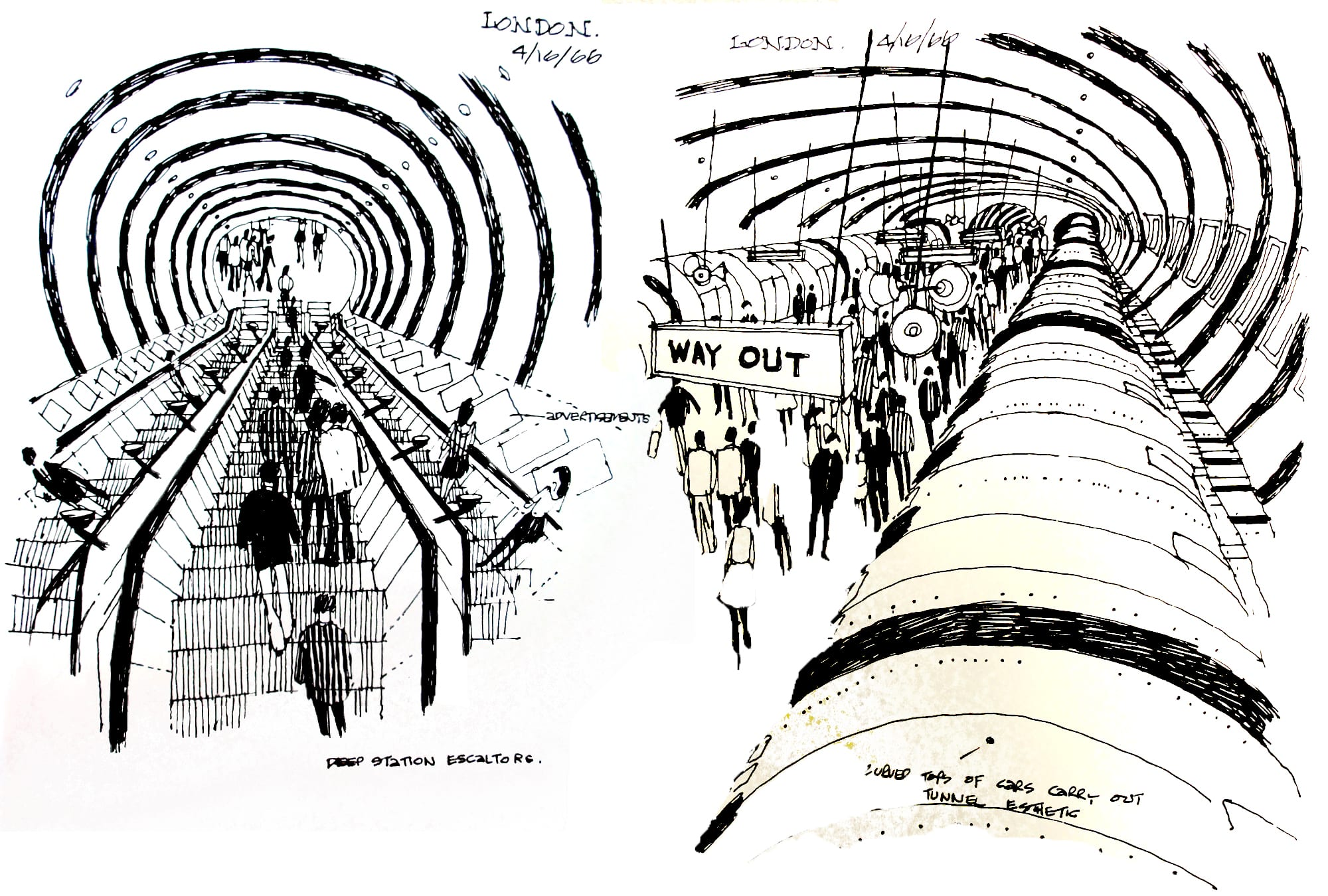 London subway sketches by HWA staff.