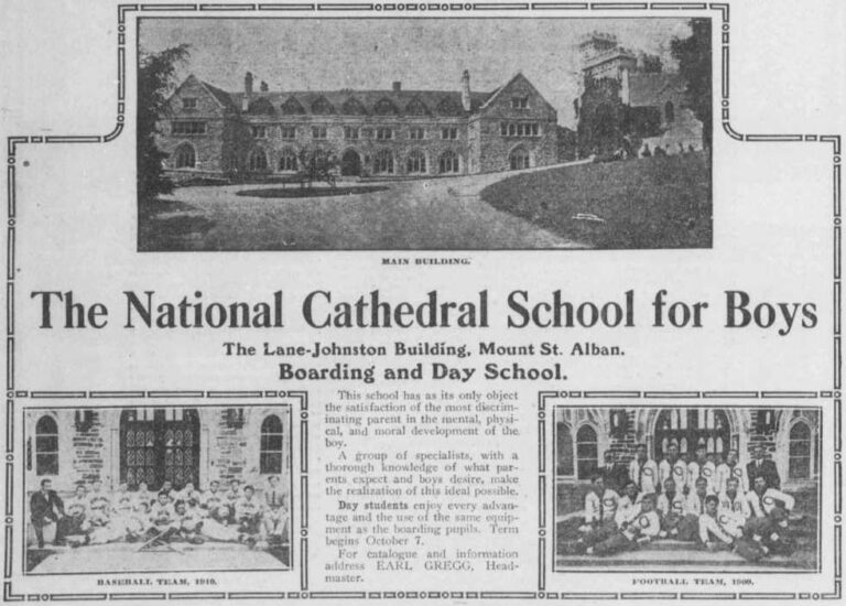 The National Cathedral School for Boys advertisement in the Washington Herald - 1910