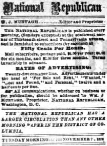 National Republican, W. J. Murtagh, Editor and Proprietor - November 7th, 1876