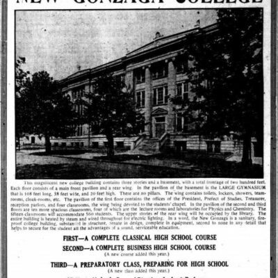 New Gonzaga College advertisement in the Washington Times - August 31st, 1913