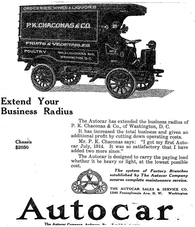 P.K. Chaconas Autocar testimonial advertisement in the Washington Post - March 20th, 1919