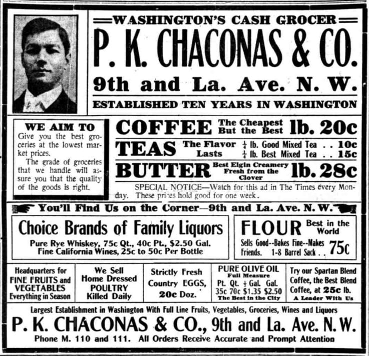 P.K. Chaconas & Co. advertisement in the Washington Times - April 14th, 1911