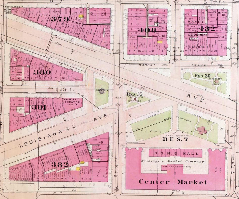 Baist real estate atlas from 1909 of 9th and Louisiana intersection