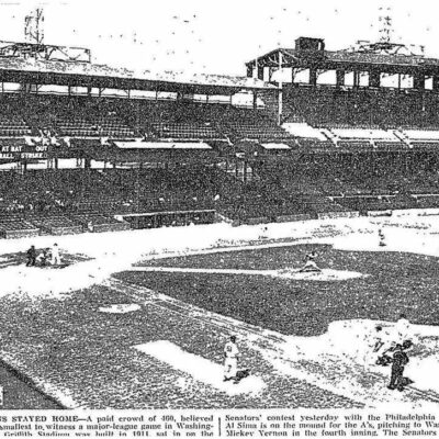 Senators play the Athletics at Griffith Stadium in front of 460 fans - September 8th, 1954 (Washington Post)