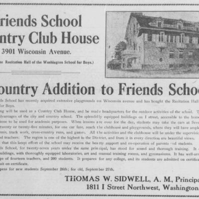 Friends School Country Club House advertisement in the Washington Herald (1910)