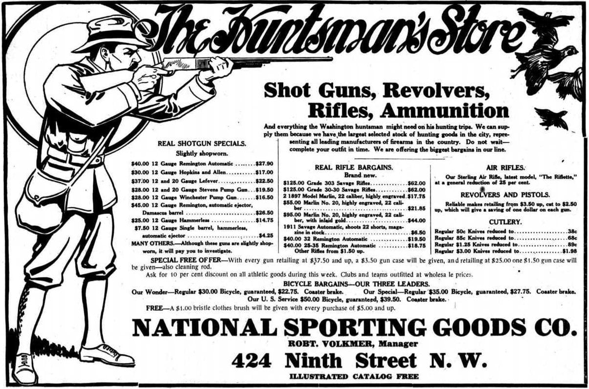The Huntsman's Store advertisement in the Washington Times - October 20th, 1912