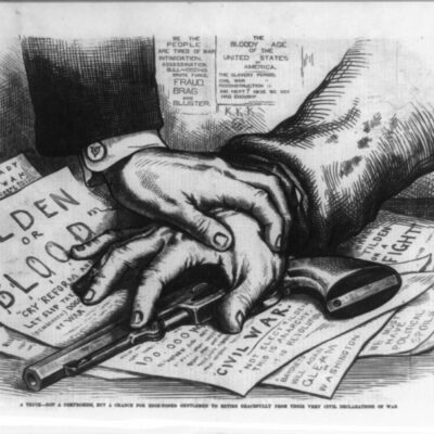 """""""Tilden or Blood"""" by Thomas Nast in Harper's weekly - Febuary 17th 1877 (Wikipedia)"""