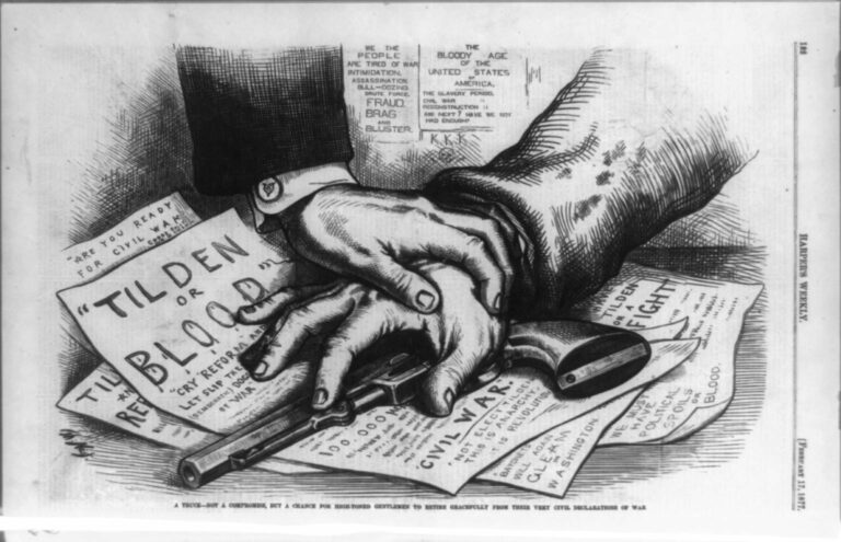 """Tilden or Blood"" by Thomas Nast in Harper's weekly - Febuary 17th 1877 (Wikipedia)"