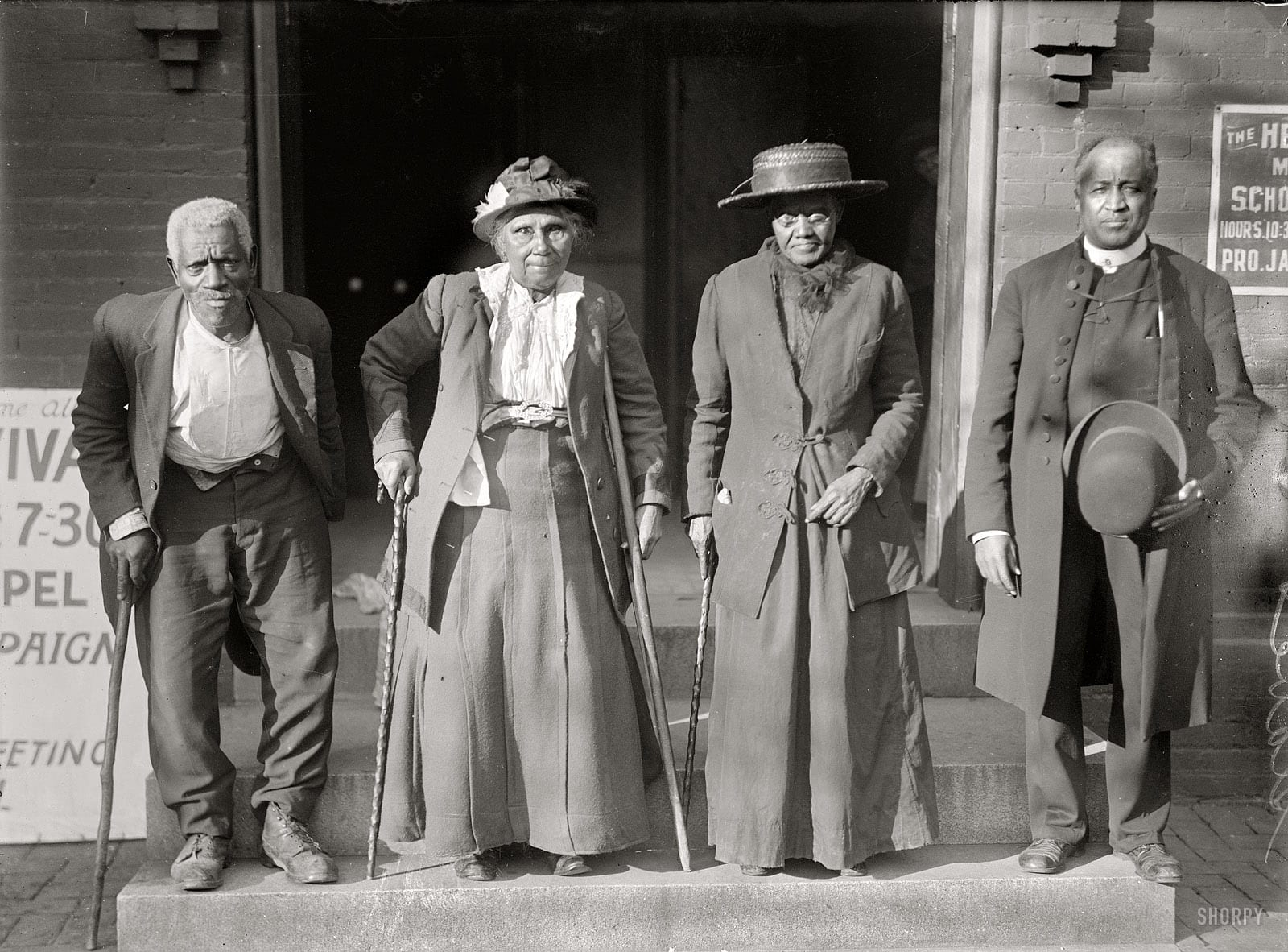 "1916 Slaves reunion. Lewis Martin, age 100; Martha Elizabeth Banks, age 104; Amy Ware, age 103; Rev. Simon P. Drew, born free."" Cosmopolitan Baptist Church, 921 N Street N.W. (Shorpy)"