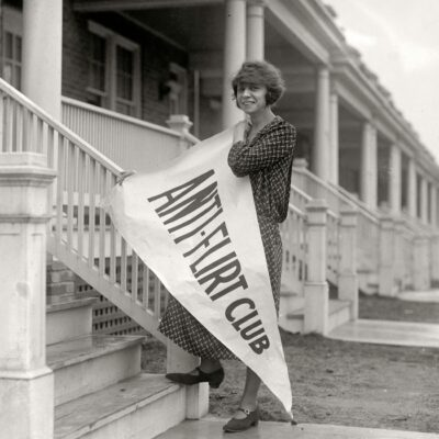 """February 27, 1923. """"Miss Alice Reighly, 1409 Harvard Street, president of Anti-Flirt Club, which has just been organized in Washington, D.C., and will launch an 'Anti-Flirt Week' beginning March 4. The club is composed of young women and girls who have been embarrassed by men in automobiles and on street corners."""" National Photo Company Collection glass negative. (Shorpy)"""