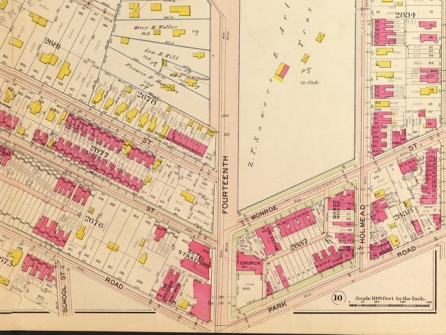 1907 Baist real estate atlas of 14th and Monroe St. NW