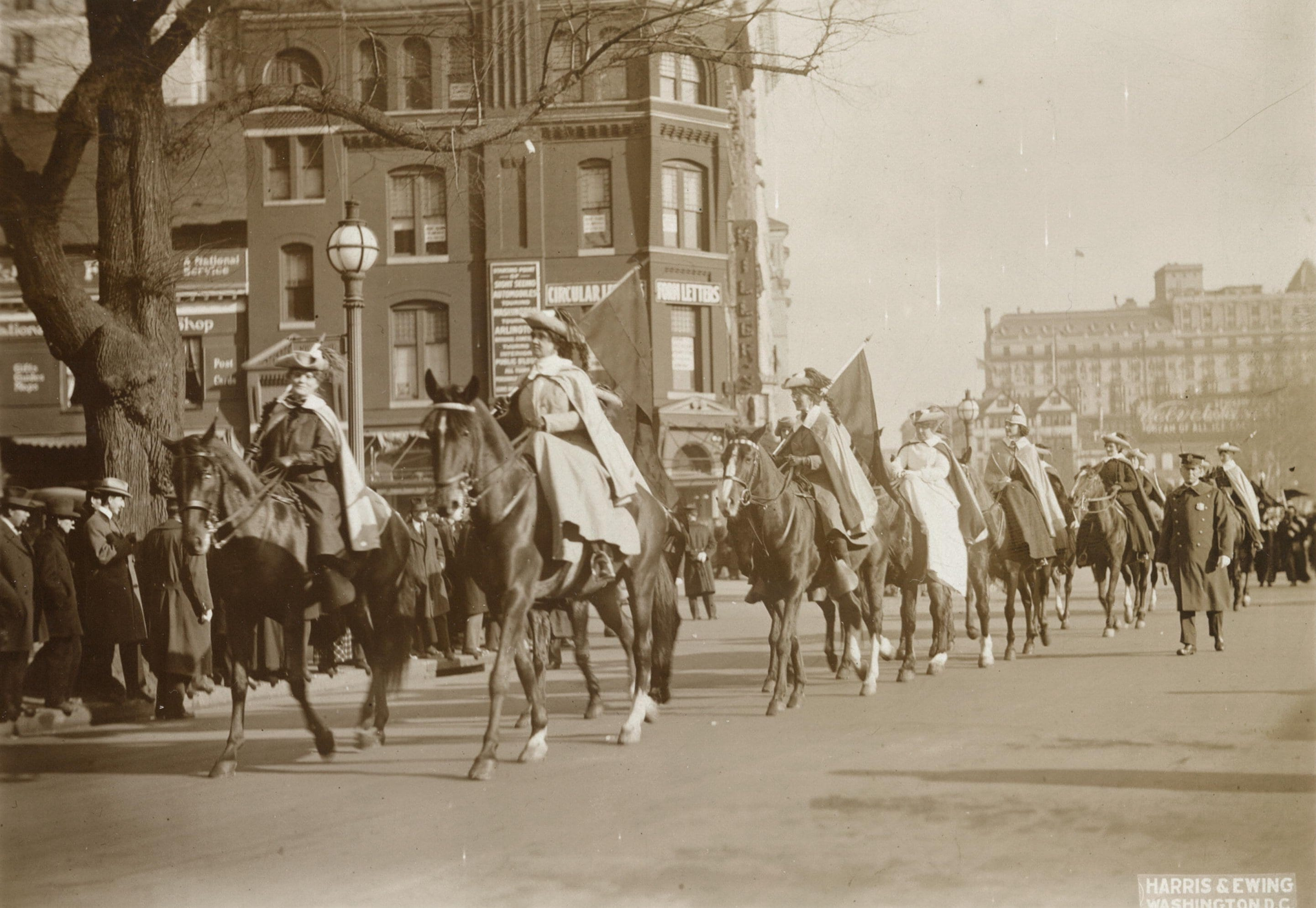Women on horseback in suffrage parade, Washington, D.C., May 9, 1914 (Library of Congress)