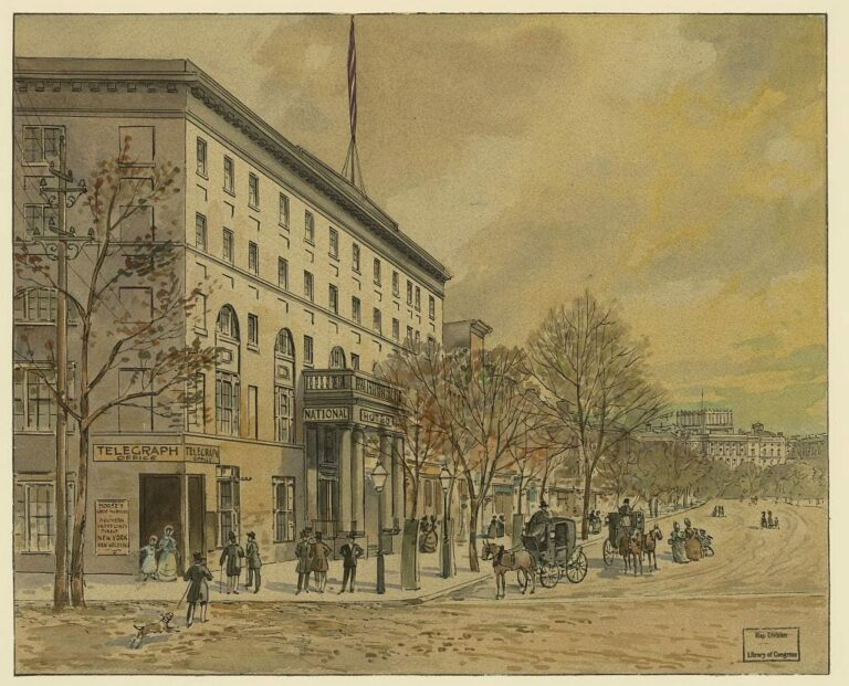 Drawing shows a woman and child exiting the telegraph office, and the National Hotel, at Pennsylvania and 6th Street, NW, as carriages and people move up and down Pennsylvania Avenue in Washington DC. The view is toward the Capitol, with its incomplete dome by A. Miller in 1860. (Library of Congress)