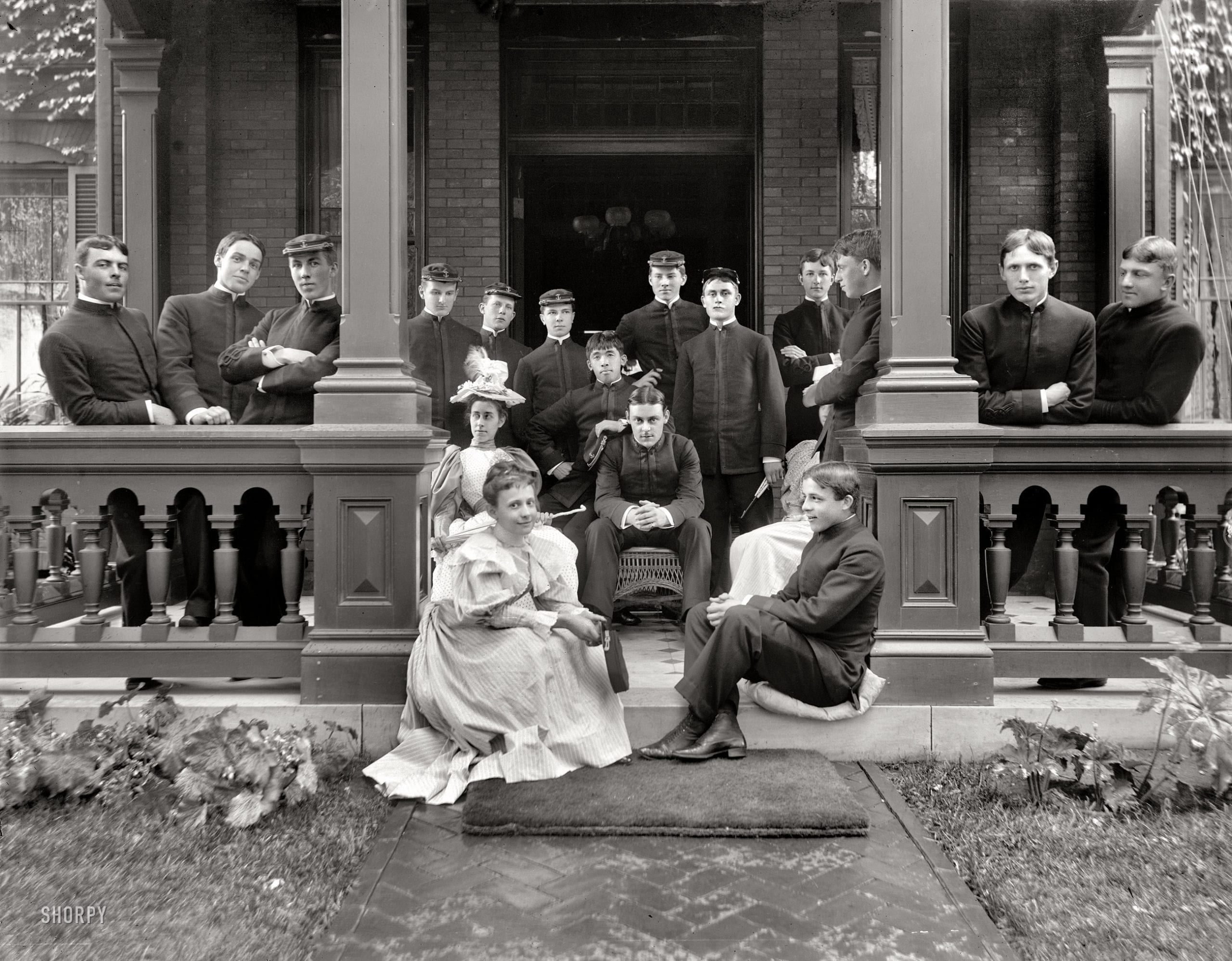 """Annapolis, Maryland, circa 1901. """"Cadets at residence of superintendent, U.S. Naval Academy. (Shorpy)"""