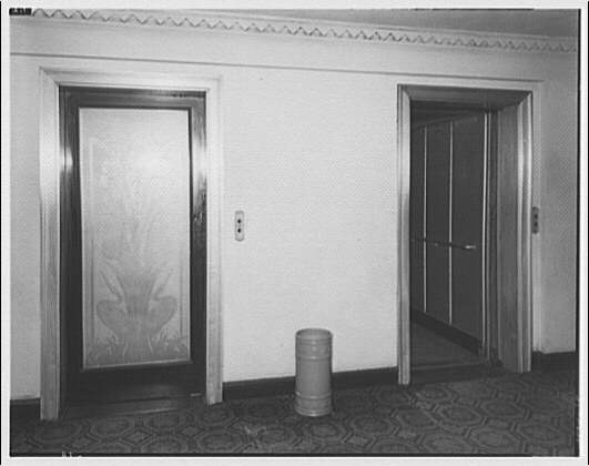 Elevators of The Westchester Apartments by Theodor Horydczak in 1947 (Library of Congress)