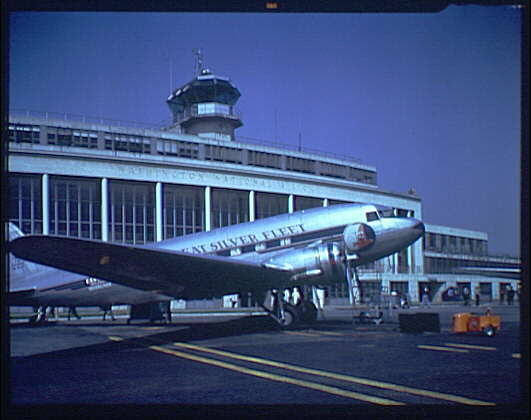 View of National Airport with plane in foreground (Library of Congress)